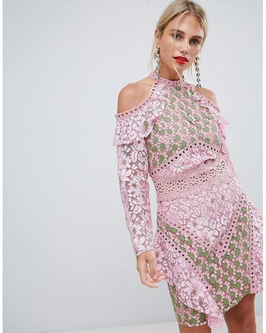 True Decadence - Pink Cold Shoulder Lace Dress With Eyelet Detail - Lyst