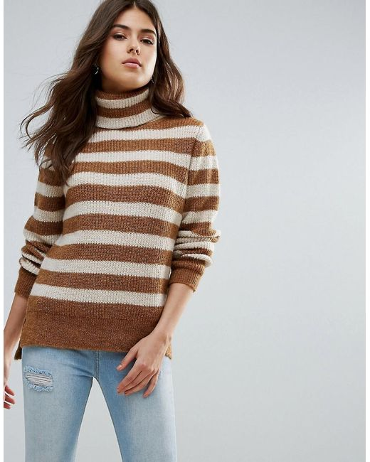 Pieces - Brown Hella Striped Rollneck Mohair Wool Blend Knit Sweater - Lyst