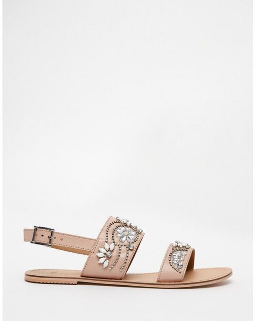 e2ff34ec1 ... ASOS - Natural Asos Fi Embellished Leather Flat Sandals - Lyst