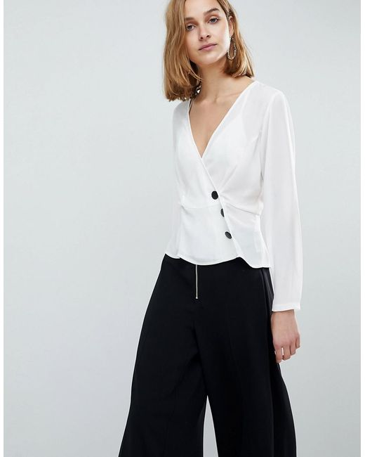 ASOS - White Wrap Top With Contrast Button Detail - Lyst