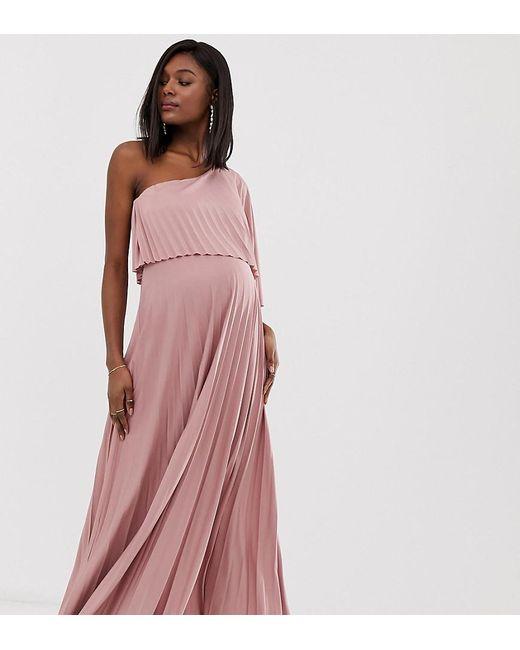 0685c4aa7d15 ASOS - Orange Asos Design Maternity One Shoulder Pleated Crop Top Maxi Dress  - Lyst ...