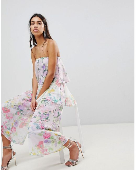 Tiered Jumpsuit in Mixed Florals - Purple Asos Countdown Package Cheap Price Low Price Fee Shipping Sale Online Deals Cheap Price CyAONQCm7