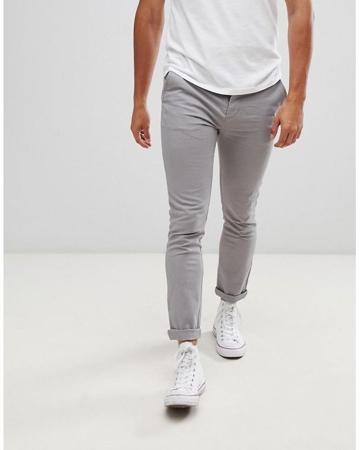 42c8c09ff8ae ASOS - Gray Skinny Chinos In Light Grey for Men - Lyst ...