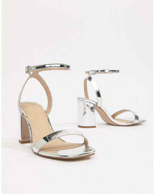 57ad054b4441f ... ASOS - Metallic Wide Fit Hong Kong Barely There Block Heeled Sandals In  Silver - Lyst
