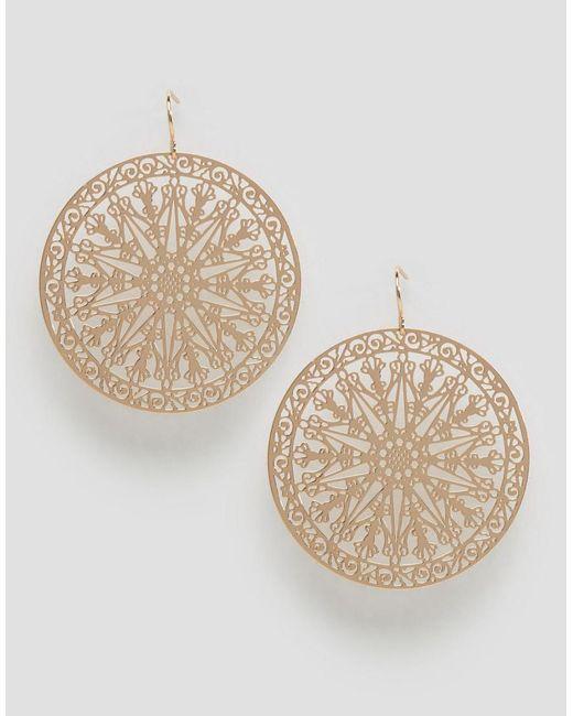 ASOS | Metallic Filigree Disc Earrings | Lyst