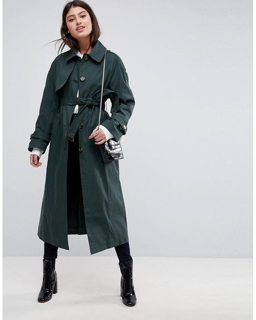 ASOS - Green Single Breasted Oversized Mac - Lyst