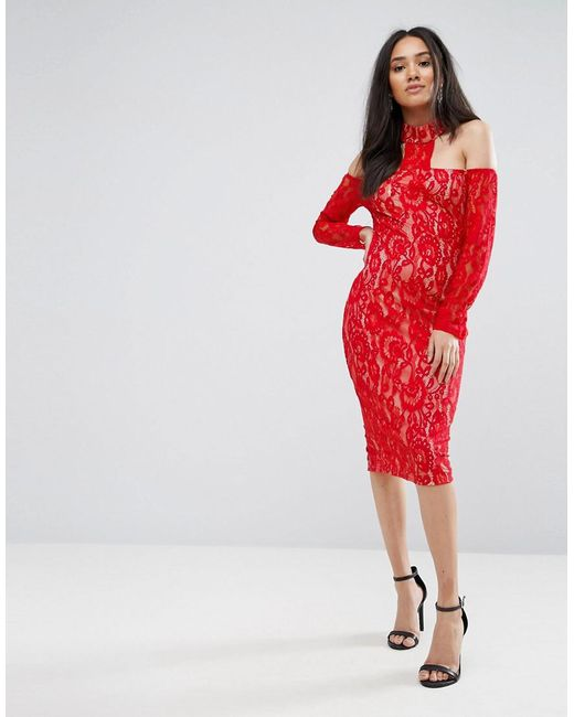 AX Paris - Red T-bar Lace Choker Midi Dress - Lyst