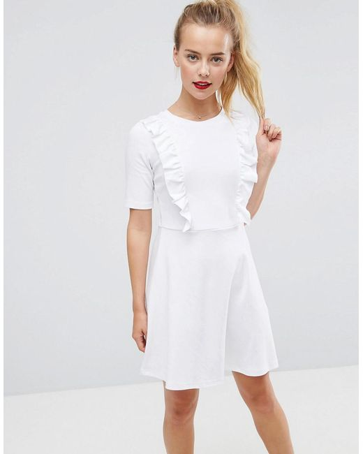ASOS - White Cotton Smock Dress With Frill Details - Lyst