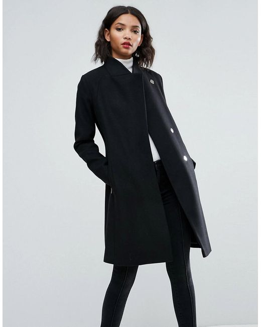 ASOS - Black Asos Smart Slim Coat With Funnel Neck - Lyst