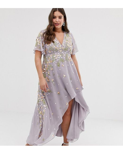 7291de8688 ASOS - Purple Asos Design Curve Dipped Hem Maxi Dress With 3d Embellishment  And Ruffle Sleeve ...