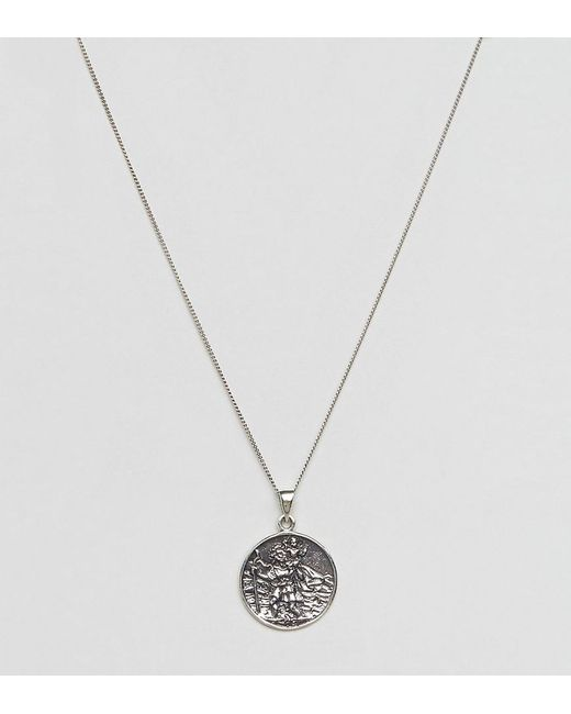 ASOS DESIGN - Metallic Sterling Silver St Christopher Necklace for Men - Lyst