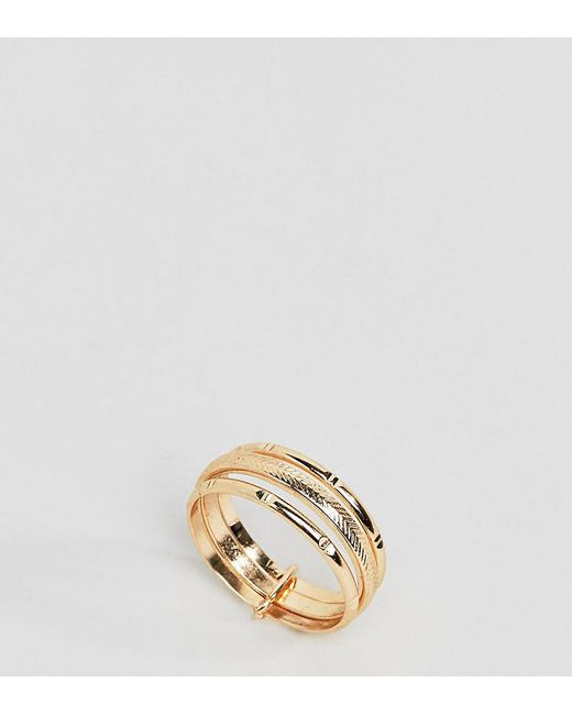 ASOS - Metallic Asos Design Curve Ring With Vintage Style Triple Band In Gold - Lyst