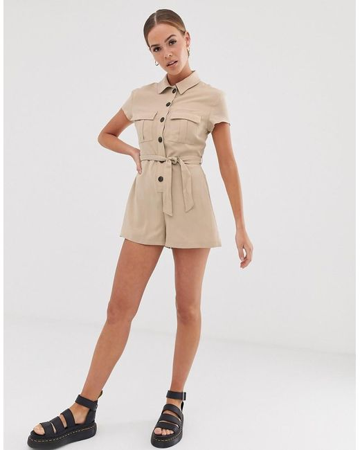 Bershka - Natural Utility Playsuit In Beige - Lyst