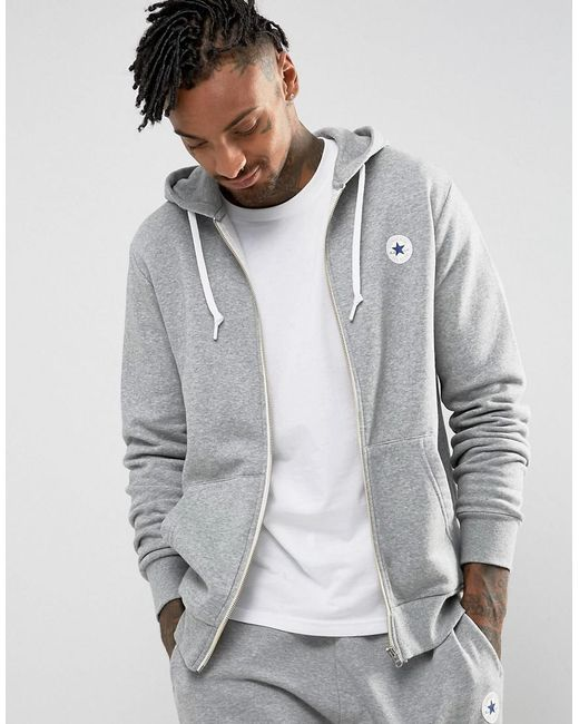 Converse - Chuck Patch Zip Hoodie In Gray 10004627-a03 for Men - Lyst