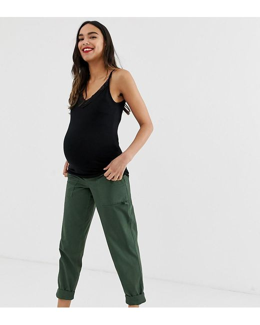 b931a58ccb478 ASOS - Green Asos Design Maternity Slim Leg Combat Trousers In Khaki With  Under The Bump ...