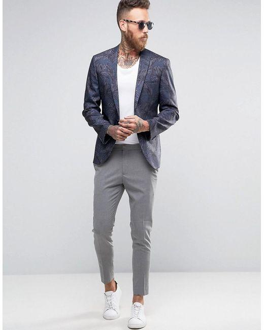 Asos Skinny Suit Jacket In Tonal Navy Palm Print in Black for Men ...