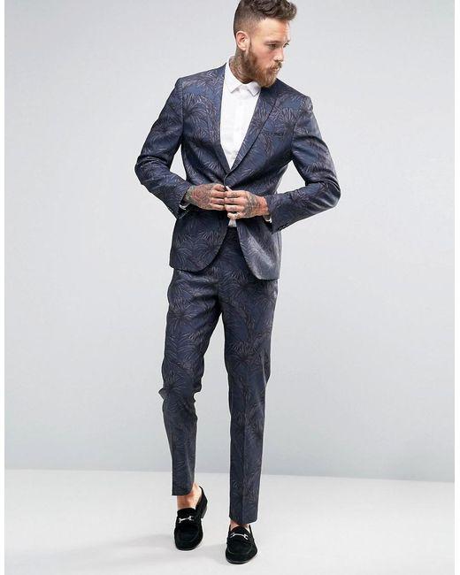 Asos Skinny Suit Jacket In Tonal Navy Palm Print in Black for Men
