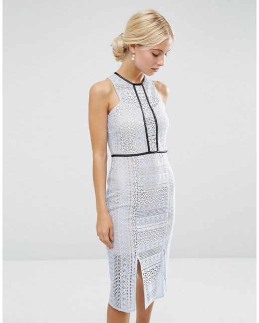 ASOS   Blue Pencil Dress In Lace With Tipping   Lyst