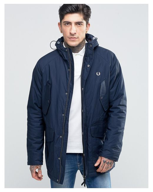 fred perry parka in bright navy in blue for men save 21 lyst. Black Bedroom Furniture Sets. Home Design Ideas