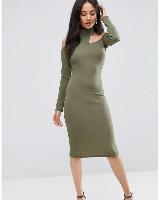 ... AX Paris - Green Khaki Midi Bodycon Dress - Lyst ... best website 55d7a  ... 8a64cf3b0
