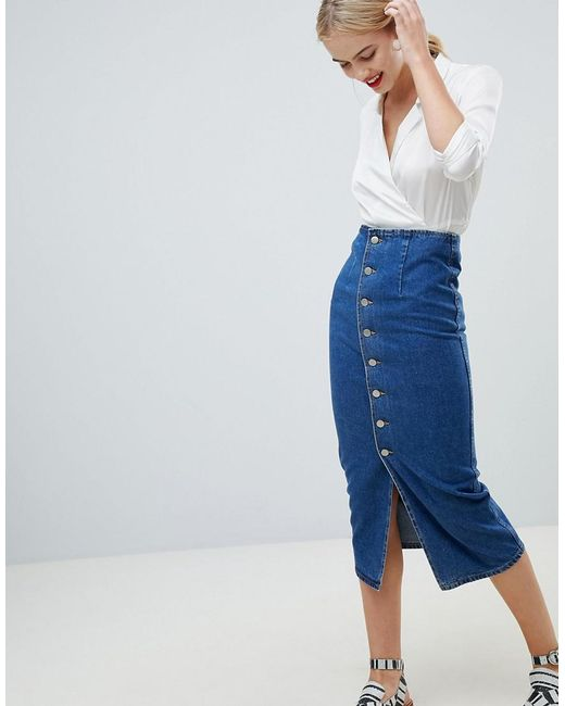 ASOS - Design Denim Midi Skirt With Buttons In Midwash Blue - Lyst