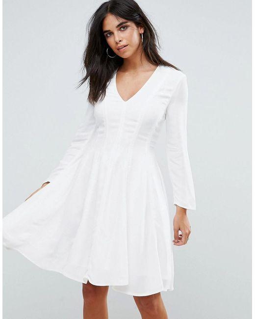 White Long Sleeve Skater Dresses