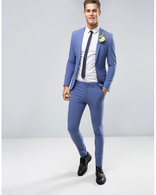Asos Wedding Super Skinny Suit Jacket In Deep Blue in Blue for Men ...