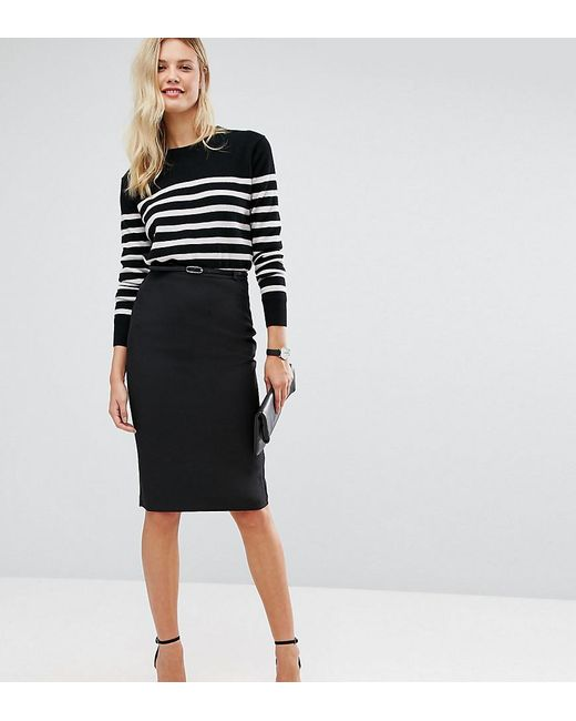 Lyst Asos Tailored Belted Pencil Skirt In Longer Length In Black
