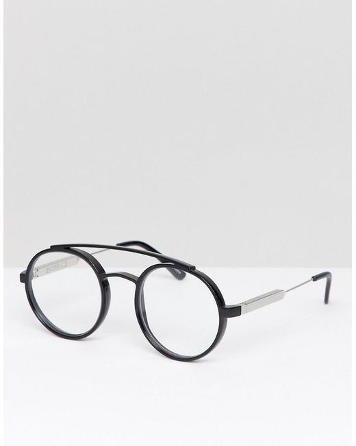 19f8064ea372d9 Spitfire - Black Lunettes rondes verres transparents for Men - Lyst ...