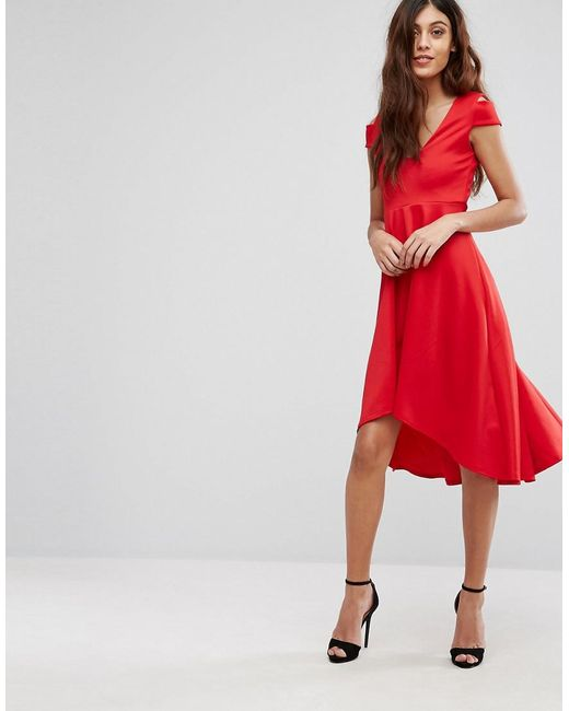 Be Jealous | Red Skater Prom Midi Dress With Hi Lo Hem | Lyst
