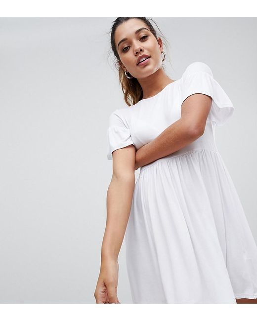8f39e20faa8a Lyst - Boohoo Exclusive Smock Dress In White in White