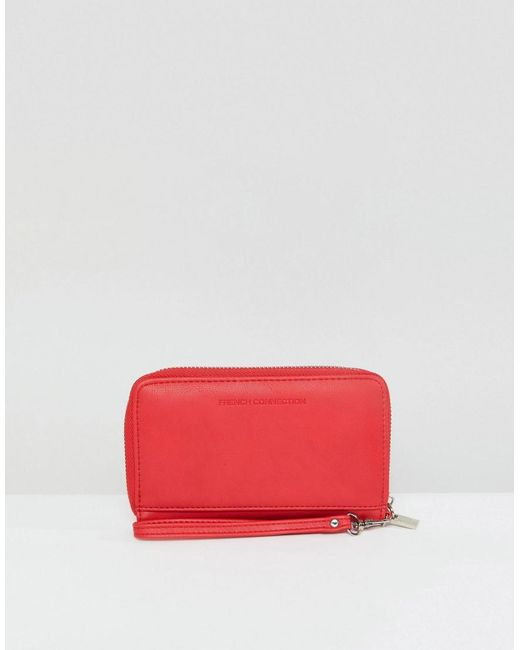 French Connection | Red Zip Around Purse | Lyst
