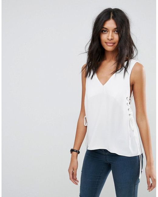 ASOS | White Tank With Lace Up Sides | Lyst