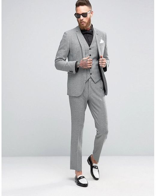 Asos Skinny Suit Jacket In Houndstooth in Gray for Men | Lyst