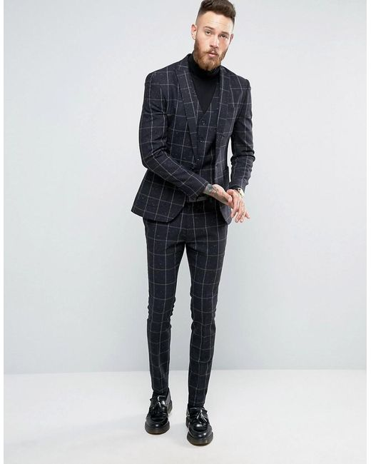 Asos Super Skinny Suit Pants In Navy Check With Nep in Blue for ...