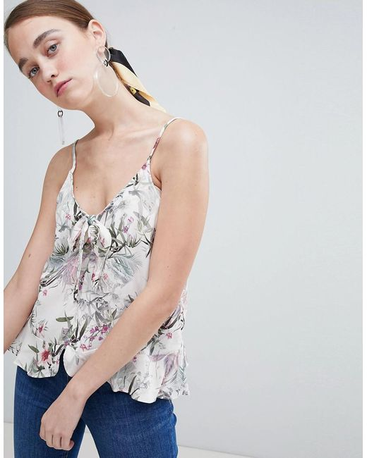 New Look - White Printed Tie Front Cami Top - Lyst