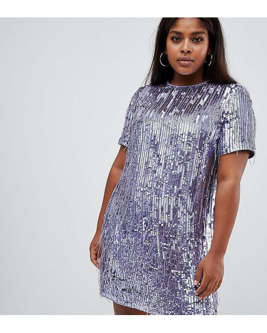 9ab25bf1 ASOS - Purple Asos Design Curve Mini Shift Dress In Heavily Embellished  Fringed Sequin - Lyst ...