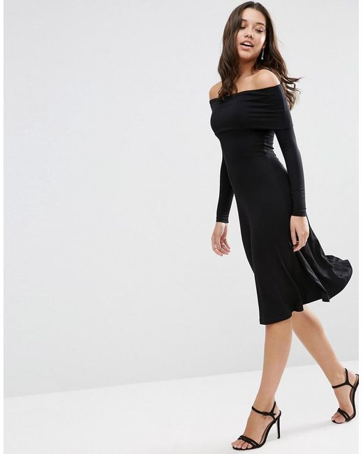 Asos Long Sleeve Deep Bardot Midi Skater Dress in Black - Save 30 ...