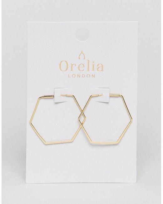 Orelia - Metallic Gold Plated Medium Hexagon Hoop - Lyst