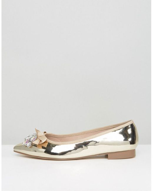 Gold Flat Party Wide Fit Shoes