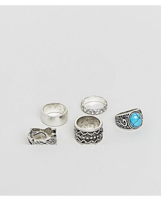 ASOS - Metallic Chunky Ring Pack In Burnished Silver With Feather And Turqoise Stone Design for Men - Lyst