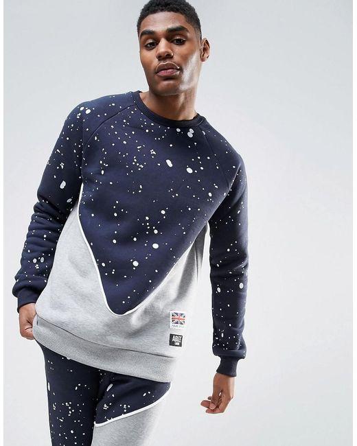 Abuze London | Blue Splash Panelo Crew Neck Sweater for Men | Lyst