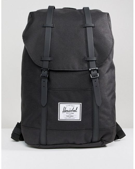 Herschel Supply Co. - Retreat Backpack In Black With Rubberised Straps for  Men - Lyst ... a715251b91