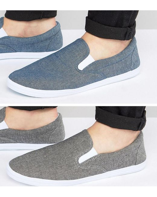 ASOS | Slip On Plimsolls In Black And Blue Chambray 2 Pack Save for Men | Lyst