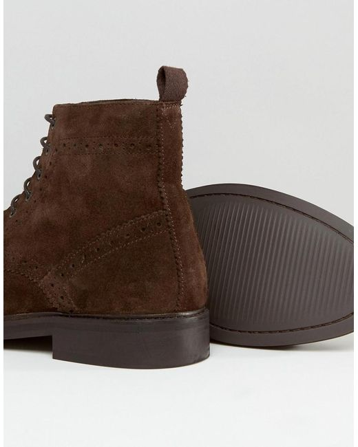asos brogue boots in brown suede with heavy sole in brown
