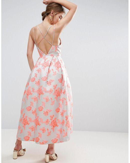 ASOS | Pink Salon Jacquard Strap Back Midi Prom Dress | Lyst