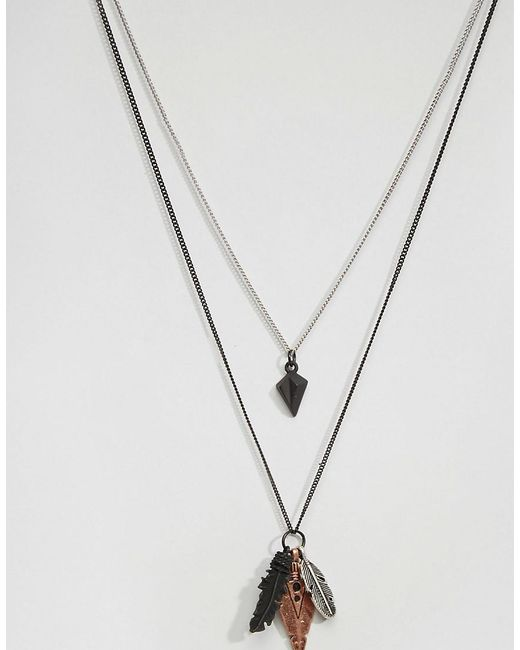 Icon Brand   Black Feather Necklace Pack for Men   Lyst
