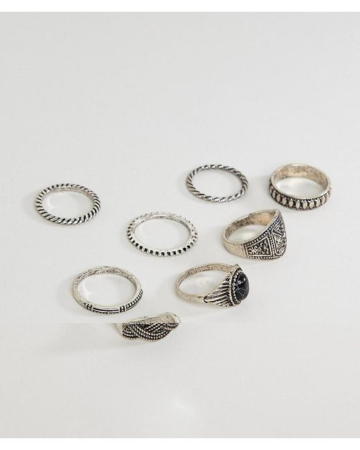 ASOS - Metallic Chunky Embossed Ring Pack With Stone for Men - Lyst