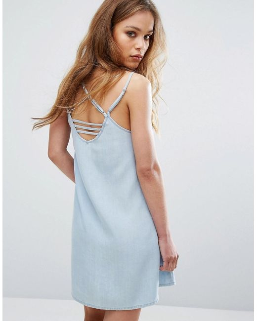 RVCA | Blue Cami Dress With Harness Strapping | Lyst