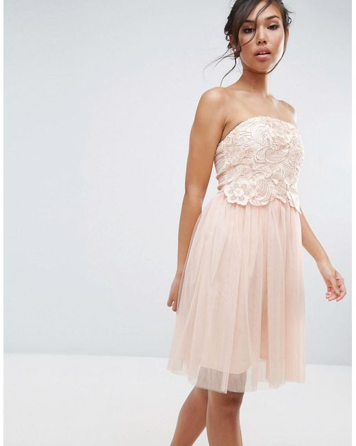 Little Mistress Lace Overlay Bandeau Prom Dress In Natural Lyst